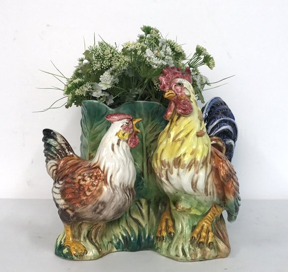 Rooster & Chicken Planter Signed Italy