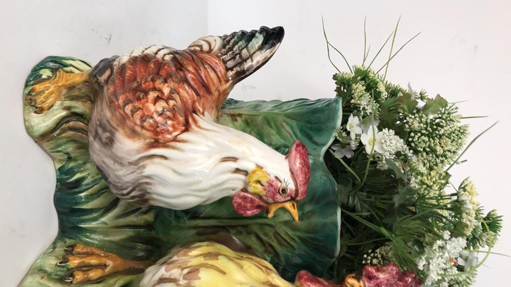 Rooster & Chicken Planter Signed Italy - 4