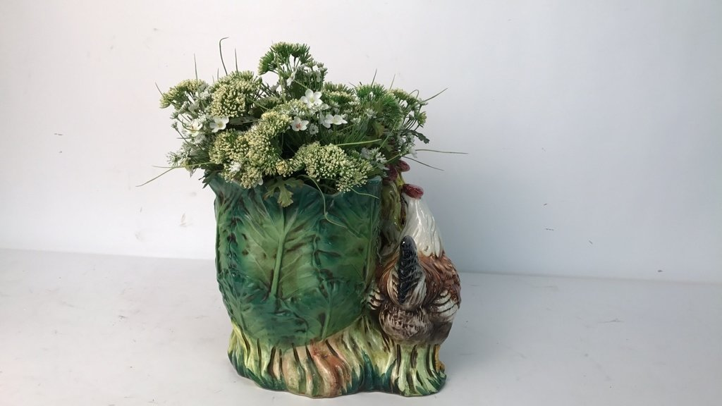 Rooster & Chicken Planter Signed Italy - 6