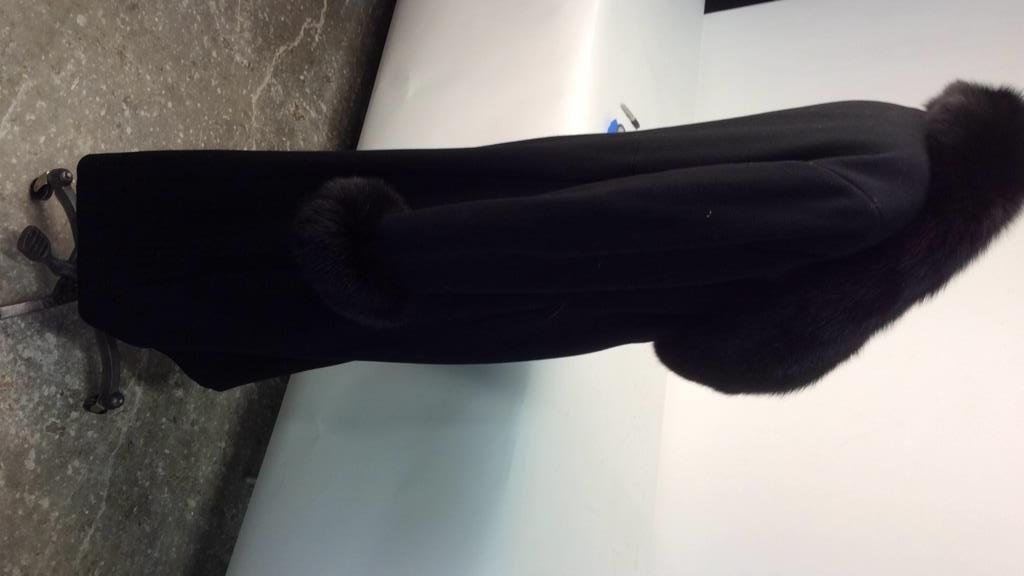 Ellie Tahari black Wool and Fox coat - 6