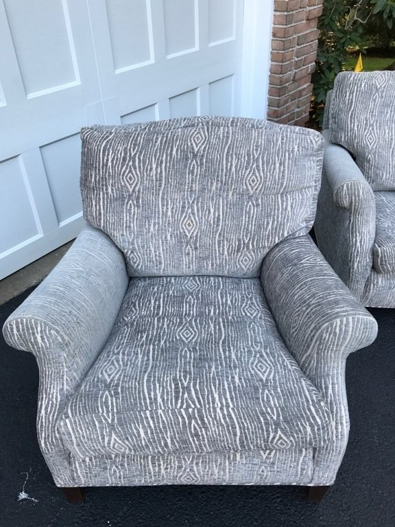 Pair Mid Century Upholstered Lounge Armchairs - 10