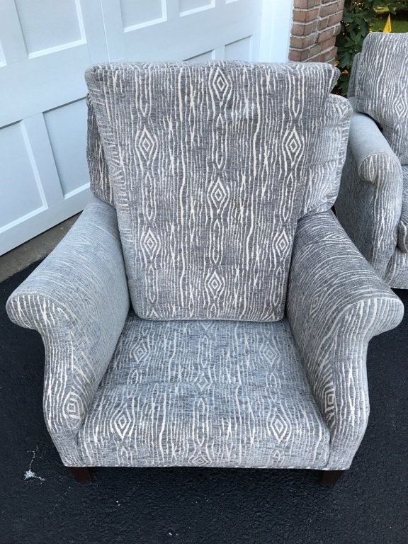 Pair Mid Century Upholstered Lounge Armchairs - 3