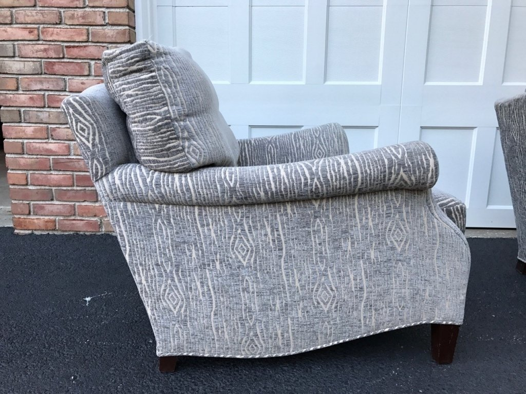 Pair Mid Century Upholstered Lounge Armchairs - 6