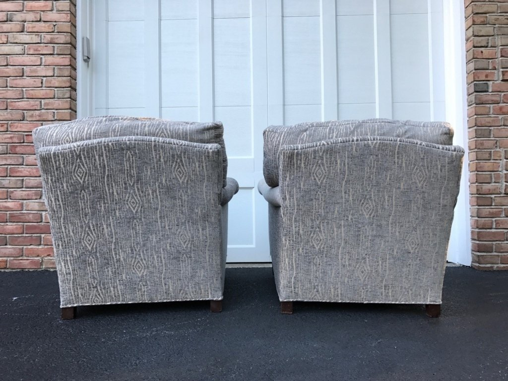 Pair Mid Century Upholstered Lounge Armchairs - 9