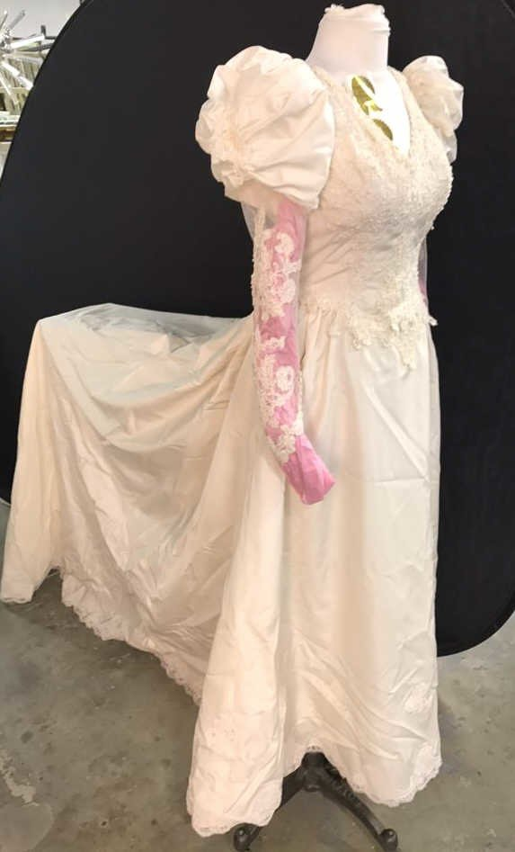Vintage Wedding Gown Lace Pearl Accents