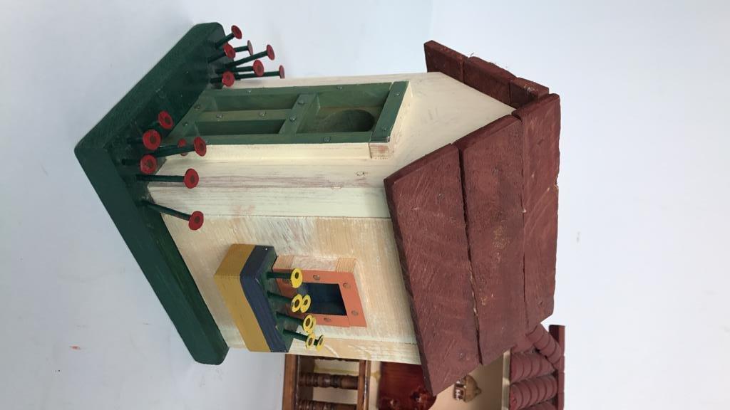 Folk Art Birdhouse Homestead Style Decor - 3