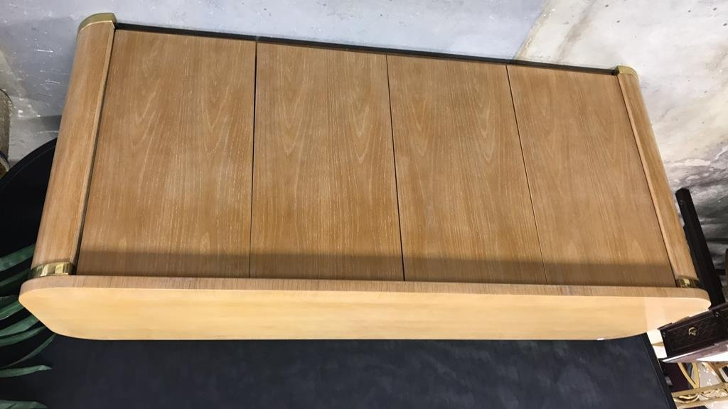 Pickled Oak Art Deco Style Console Cabinet