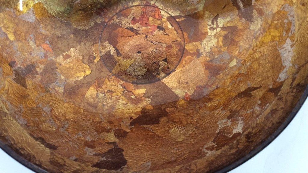 Art Glass Gold Leafed  & Copper Leafed Bowl - 10