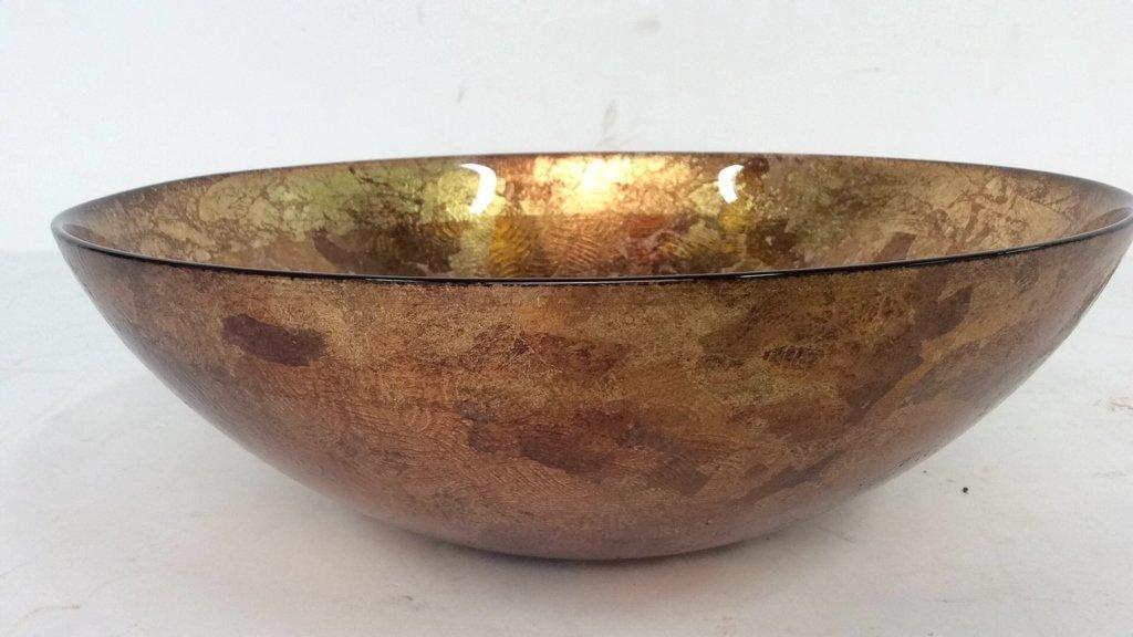 Art Glass Gold Leafed  & Copper Leafed Bowl - 2