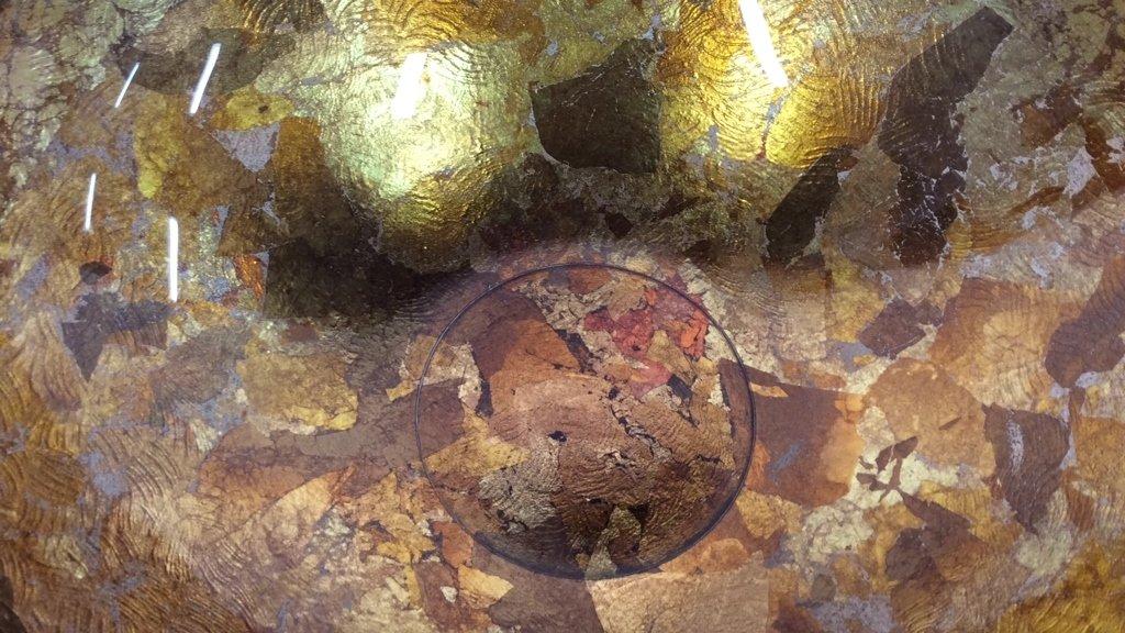 Art Glass Gold Leafed  & Copper Leafed Bowl - 4