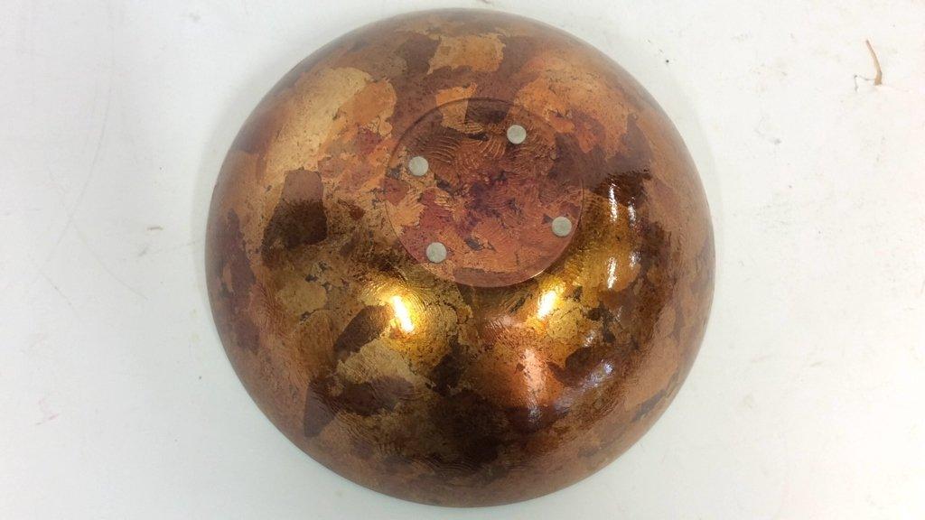 Art Glass Gold Leafed  & Copper Leafed Bowl - 6
