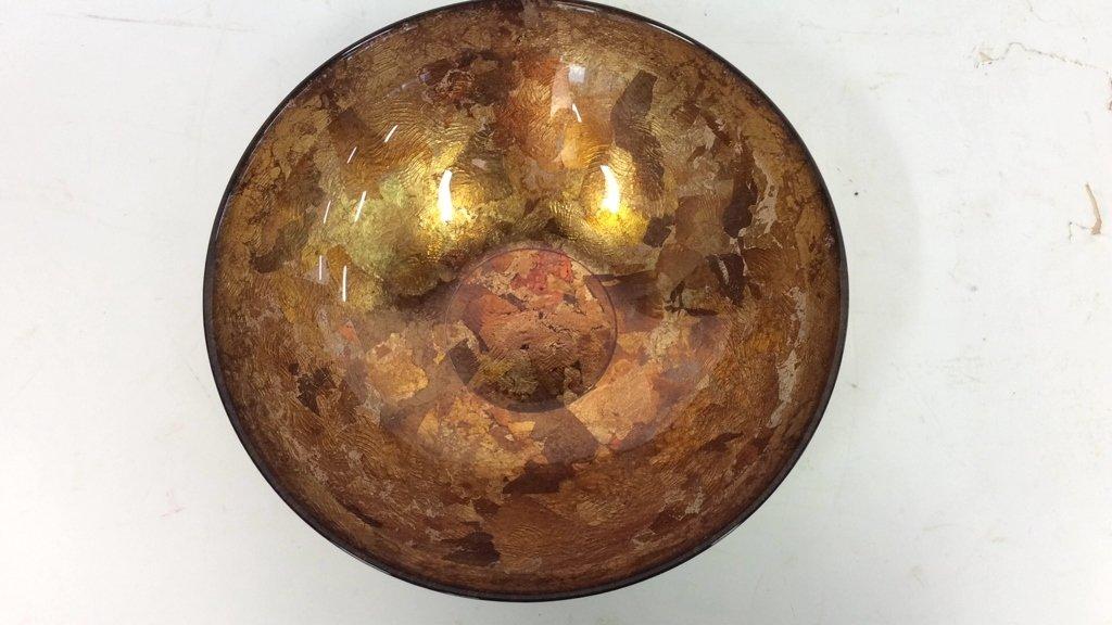 Art Glass Gold Leafed  & Copper Leafed Bowl - 9