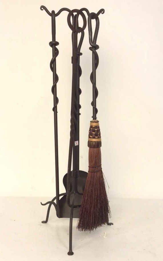 Black Iron Twist Fireplace Accessories