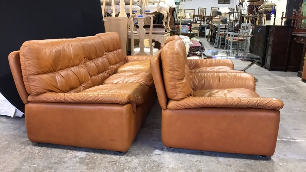 Set Upholstered Sofa & Club Chairs - 3