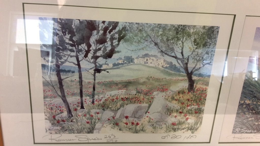 Framed Set Isreali Scenic Lithographs R Spiers - 2