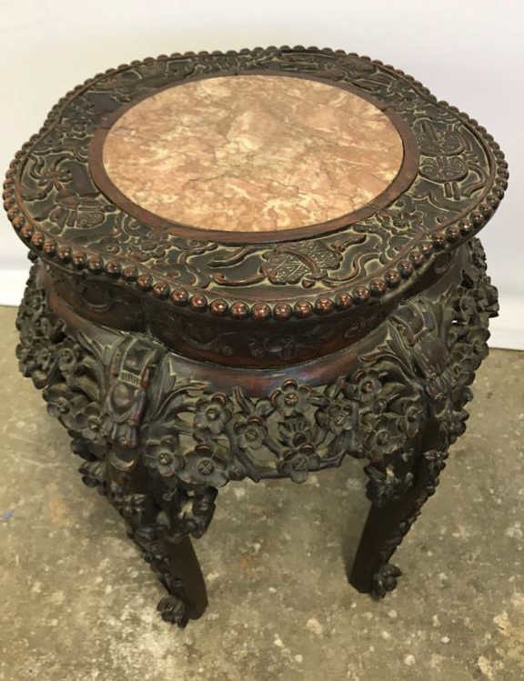 Antique CH'ING Chinese Carved Marble Table