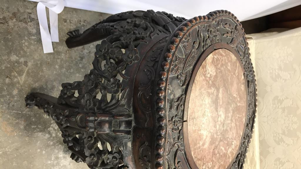 Antique CH'ING Chinese Carved Marble Table - 8