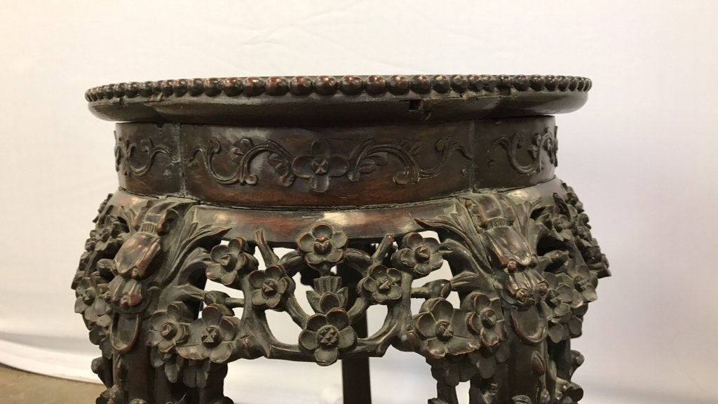 Antique CH'ING Chinese Carved Marble Table - 9
