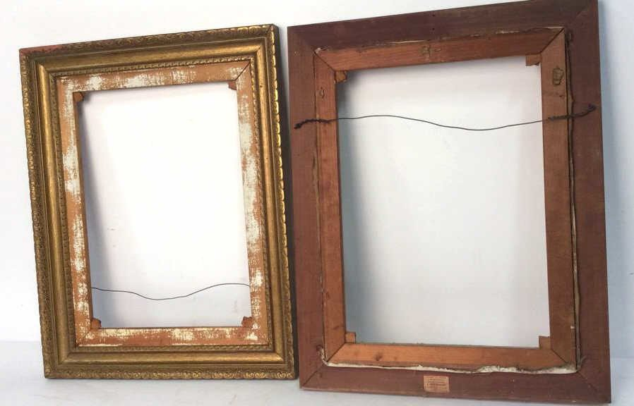 Pair Carved Gold Leafed Large Art Frames