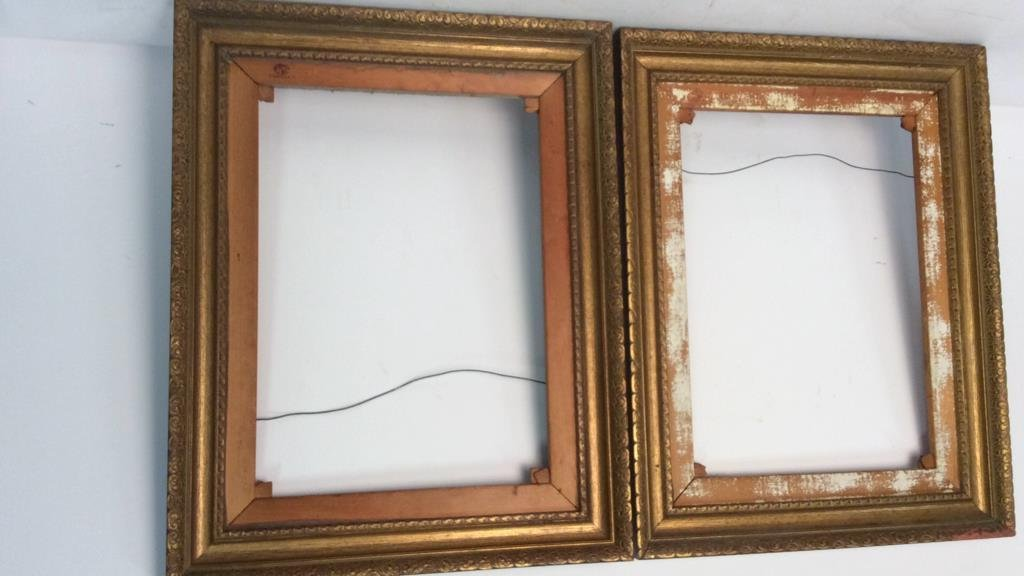 Pair Carved Gold Leafed Large Art Frames - 2
