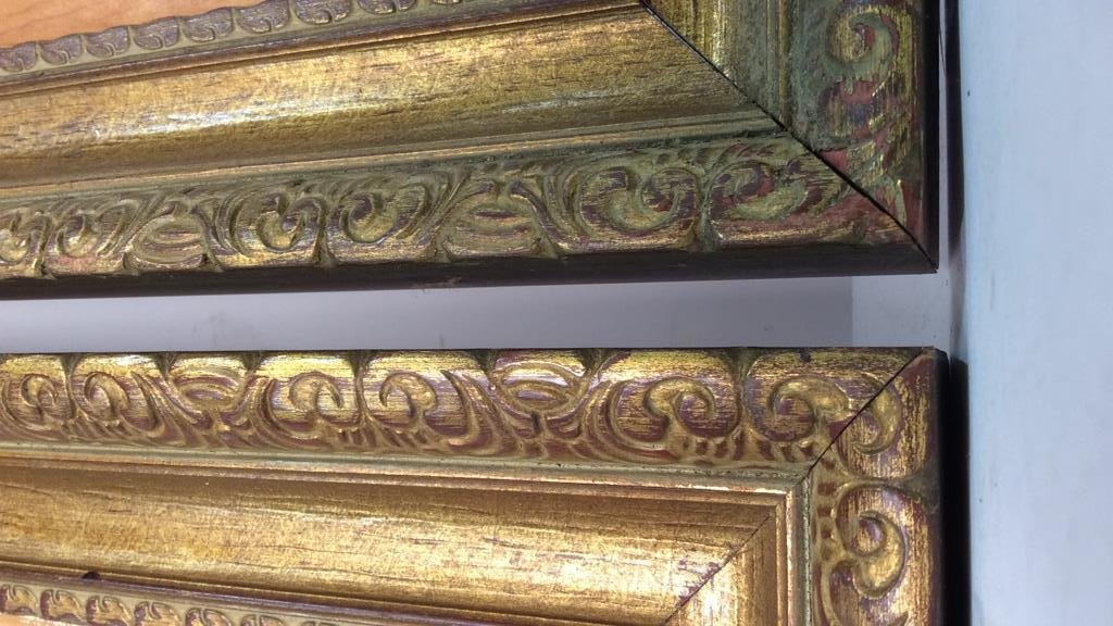 Pair Carved Gold Leafed Large Art Frames - 3