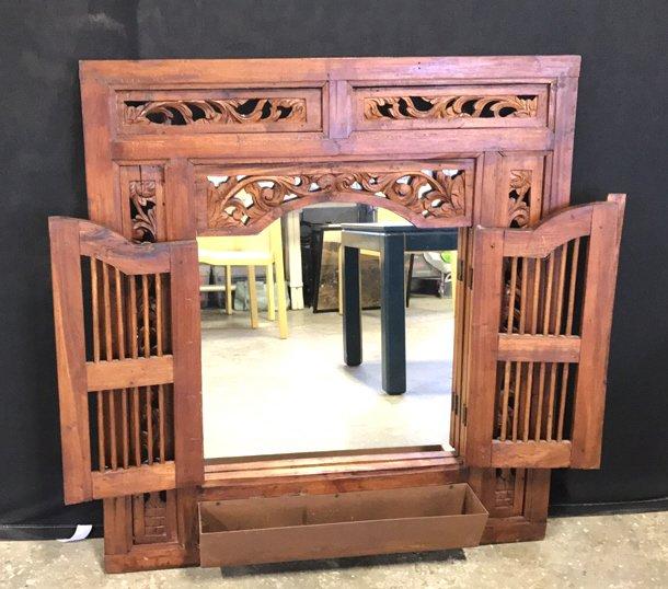 Vintage Carved Frame w Shuttered Mirror