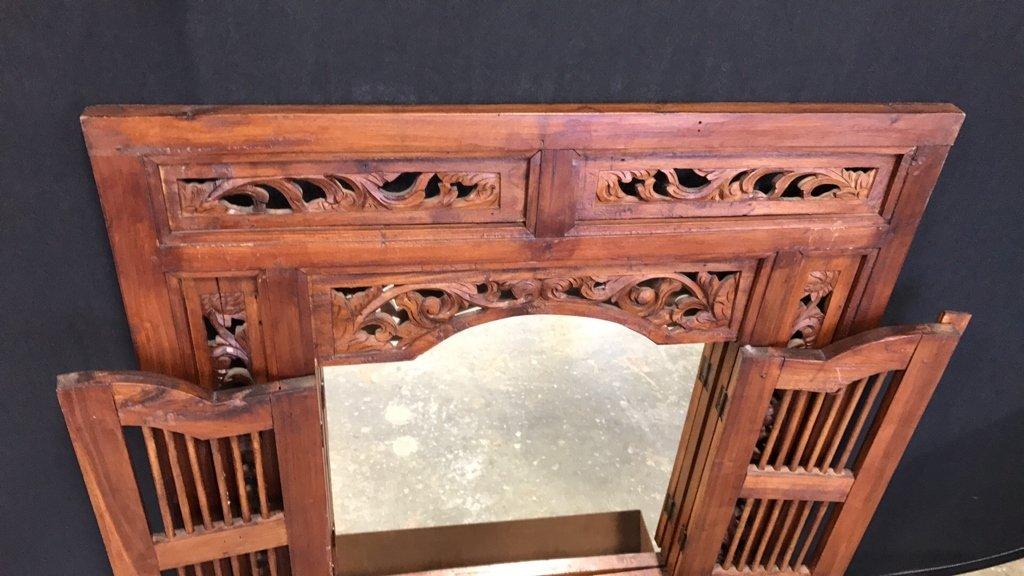 Vintage Carved Frame w Shuttered Mirror - 2