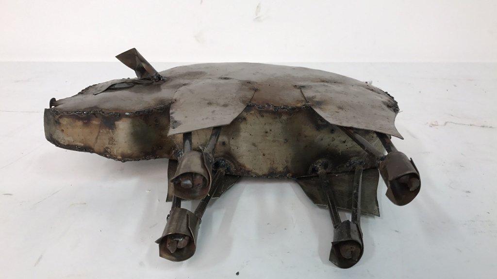 Rustic Metal Pig Sculpture - 10