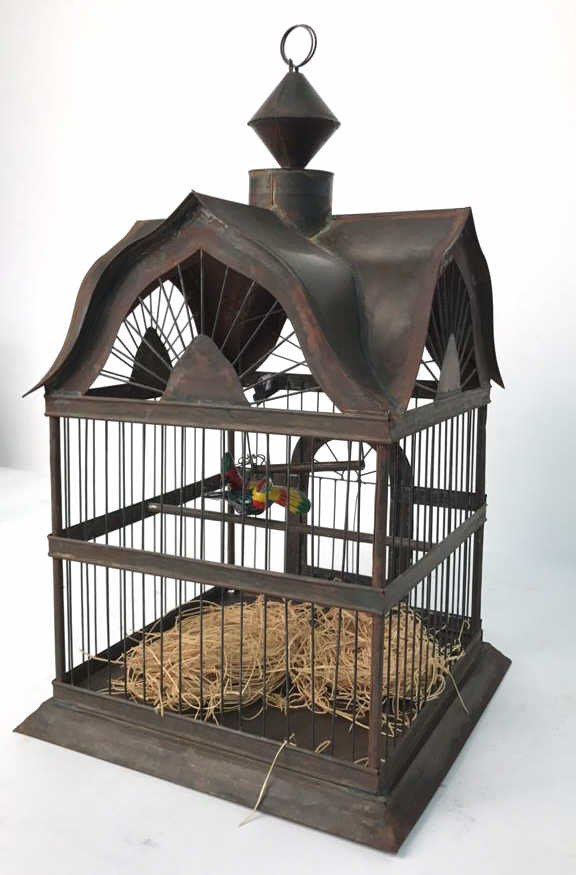 Folk Art Bird Cage with Toucan