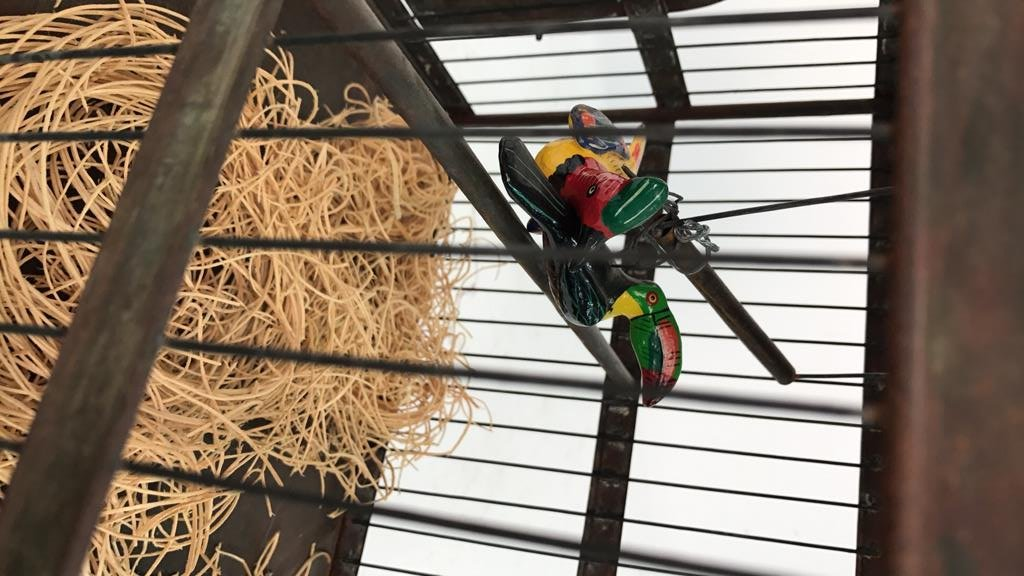 Folk Art Bird Cage with Toucan - 2