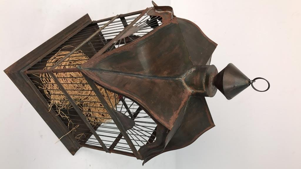 Folk Art Bird Cage with Toucan - 3