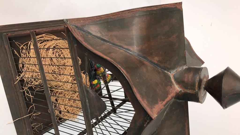 Folk Art Bird Cage with Toucan - 4