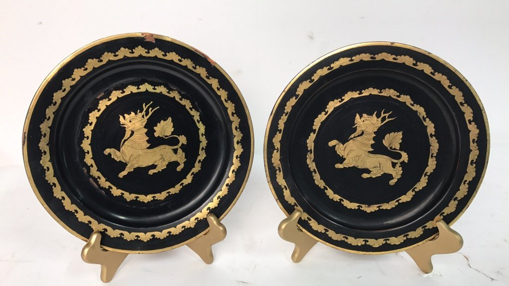 Antique Asian Laquered Plates