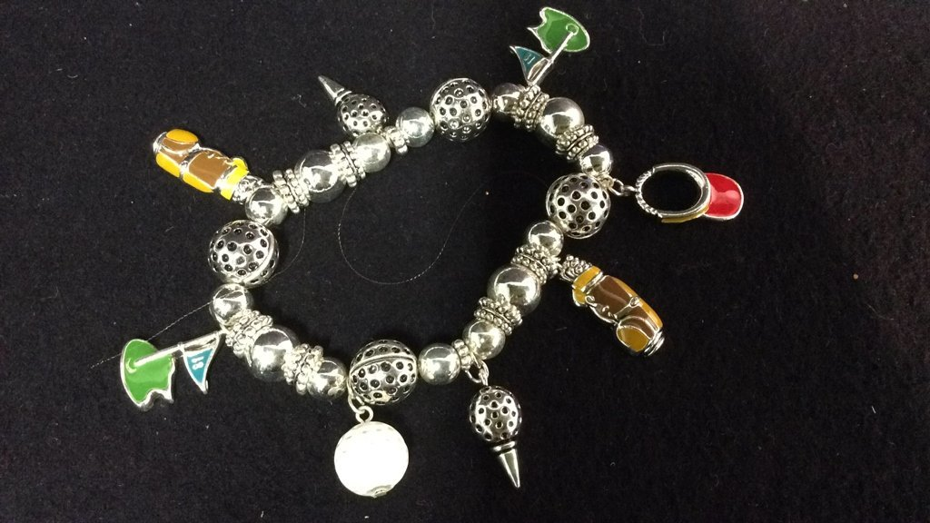 Group 20+ New go,f themed charm bracelets
