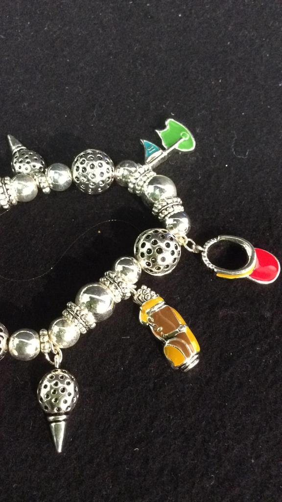 Group 20+ New go,f themed charm bracelets - 2