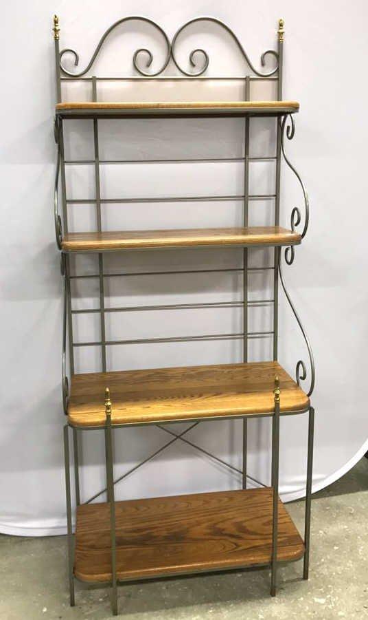 Oak & Metal Framed Baker's Rack