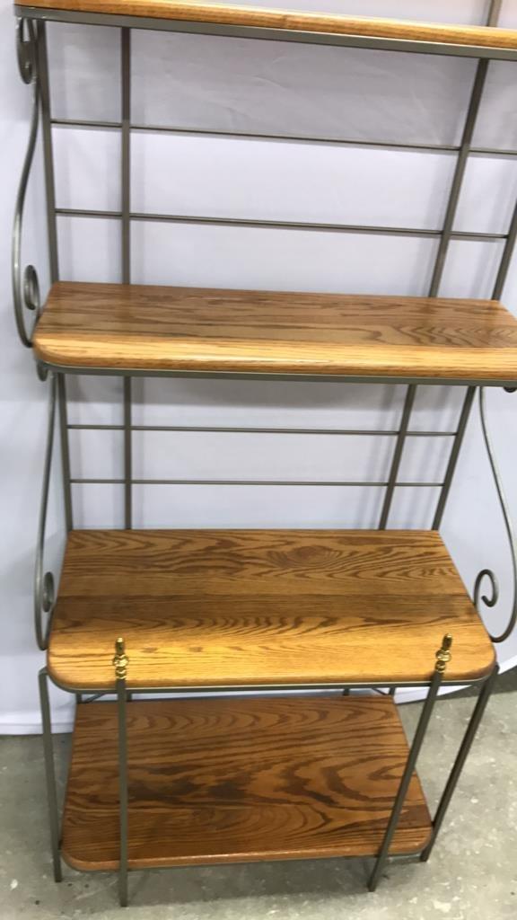 Oak & Metal Framed Baker's Rack - 2