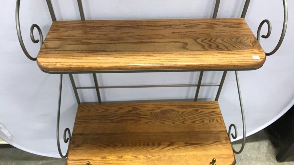 Oak & Metal Framed Baker's Rack - 3