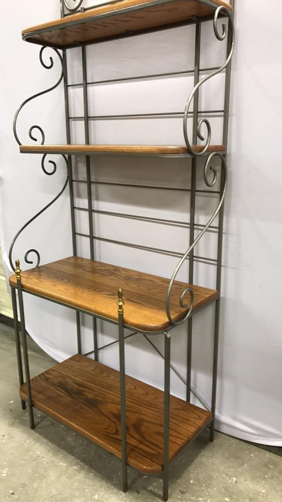 Oak & Metal Framed Baker's Rack - 4