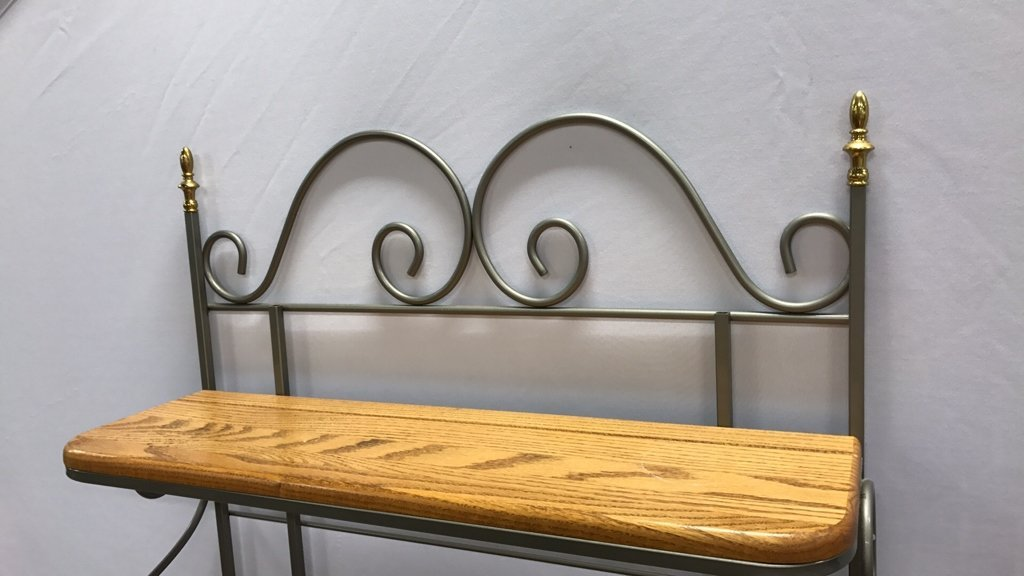 Oak & Metal Framed Baker's Rack - 5