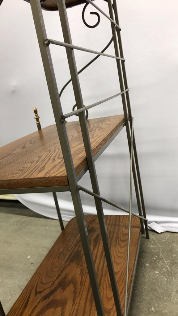 Oak & Metal Framed Baker's Rack - 7