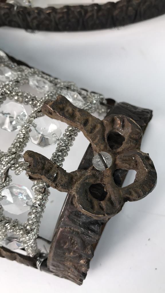 Set Four Faux Gatsby Era Crystal & Iron Sconces - 10