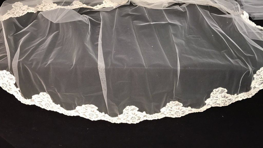 Lace Trimmed Bridal Veil Pearl Floral Band - 10