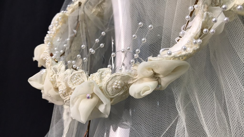 Lace Trimmed Bridal Veil Pearl Floral Band - 2