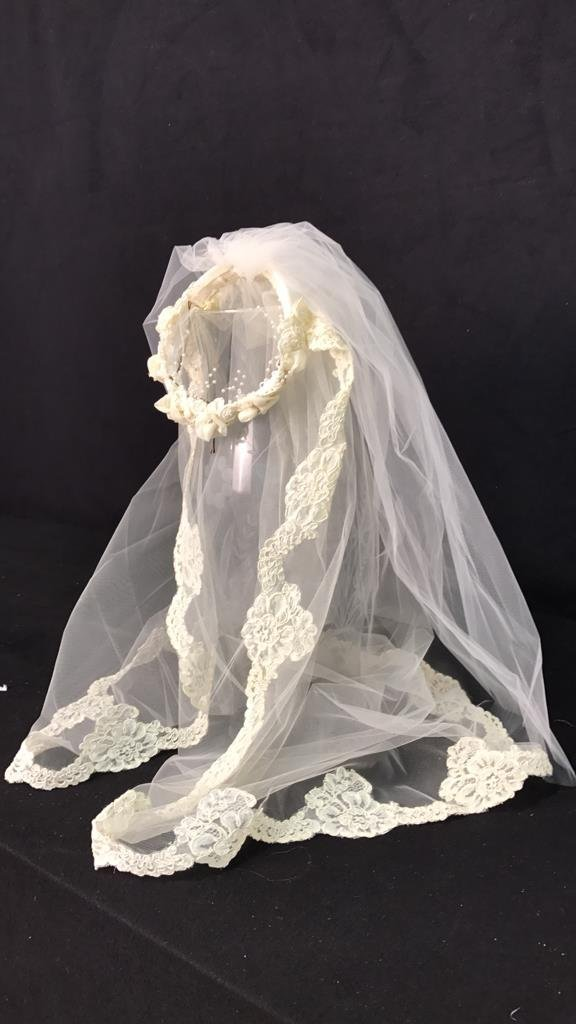 Lace Trimmed Bridal Veil Pearl Floral Band - 5