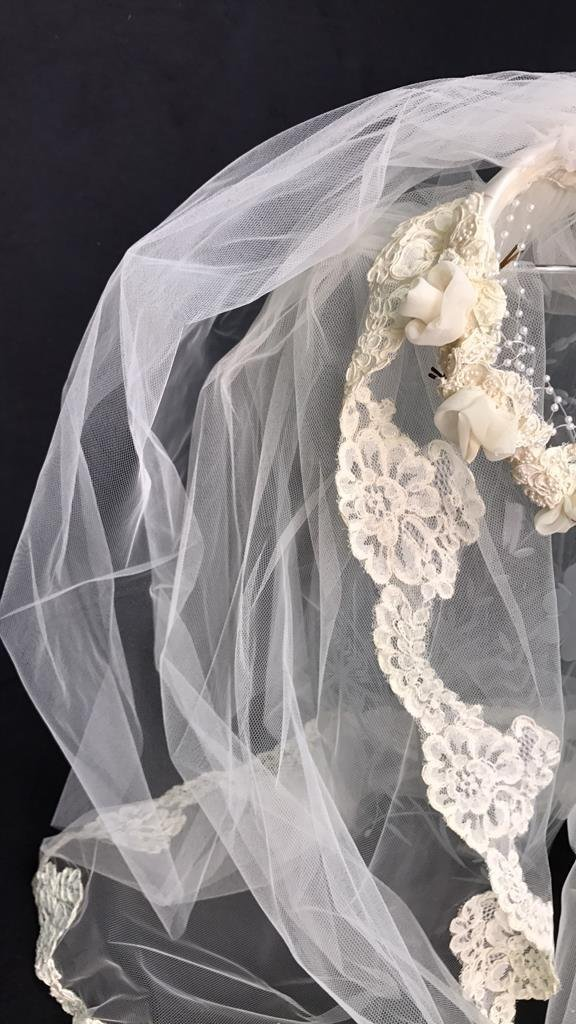 Lace Trimmed Bridal Veil Pearl Floral Band - 6