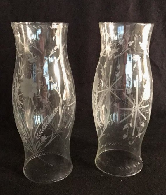 Pair Etched Glass Oversized Hurricane Globes
