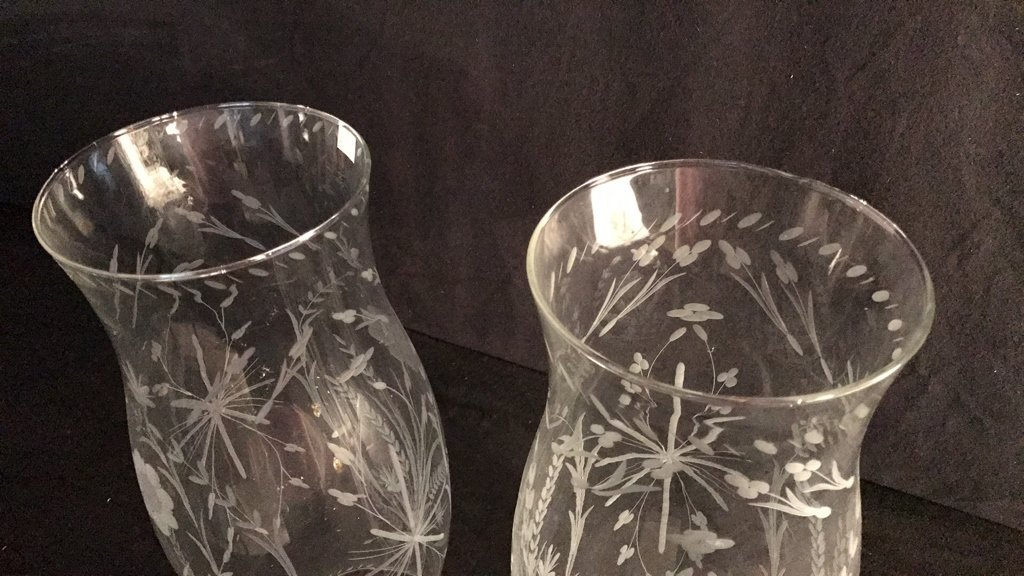 Pair Etched Glass Oversized Hurricane Globes - 3