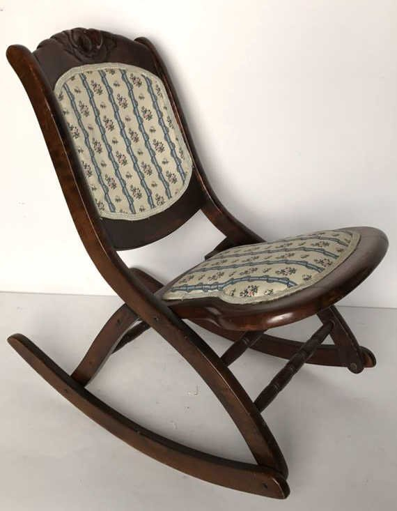 Vintage Collapsable Carved Rocking Chair