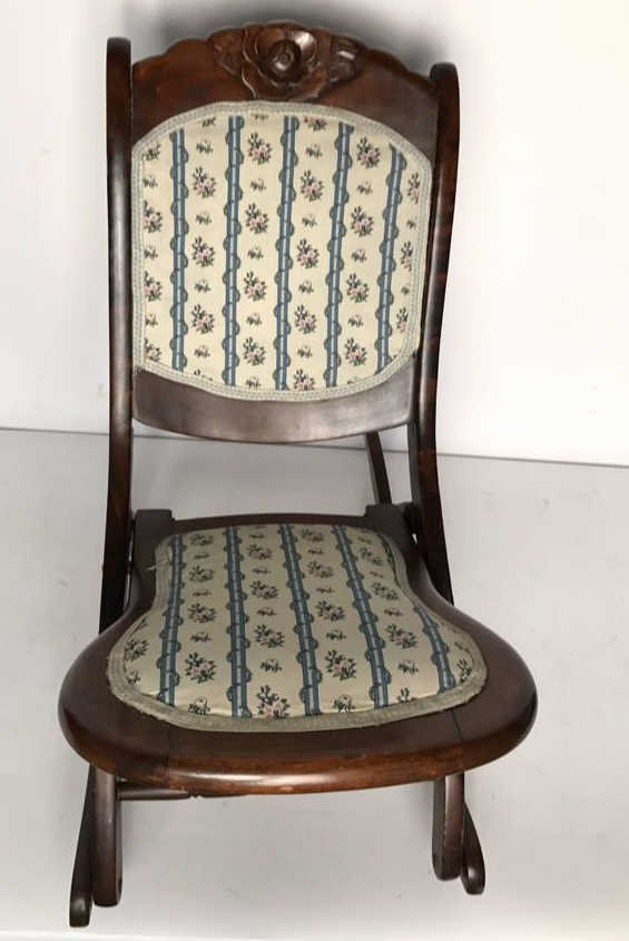 Vintage Collapsable Carved Rocking Chair - 2